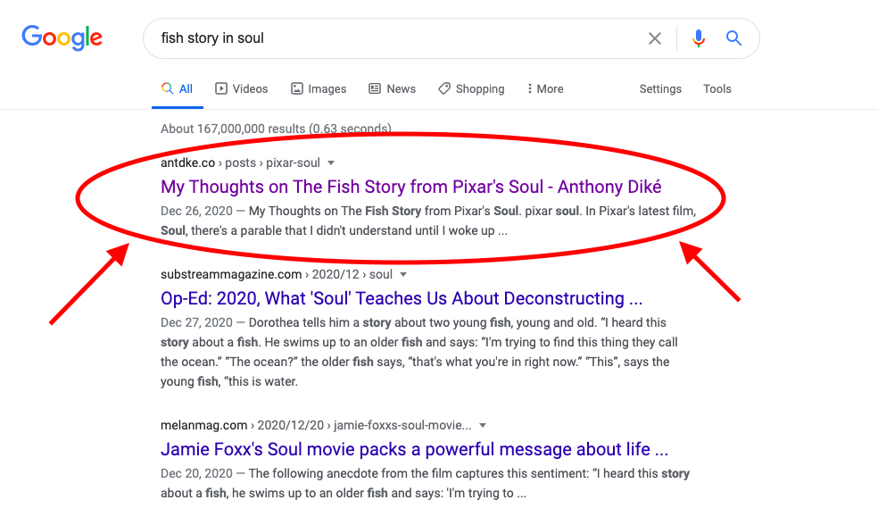 I'm Top of Google for my Pixar Soul piece